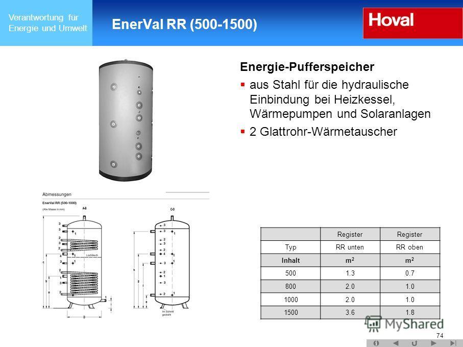 Verantwortung für Energie und Umwelt 74 EnerVal RR (500-1500) Energie-Pufferspeicher aus Stahl für die hydraulische Einbindung bei Heizkessel, Wärmepumpen und Solaranlagen 2 Glattrohr-Wärmetauscher Register TypRR untenRR oben Inhaltm2m2 m2m2 5001.30.
