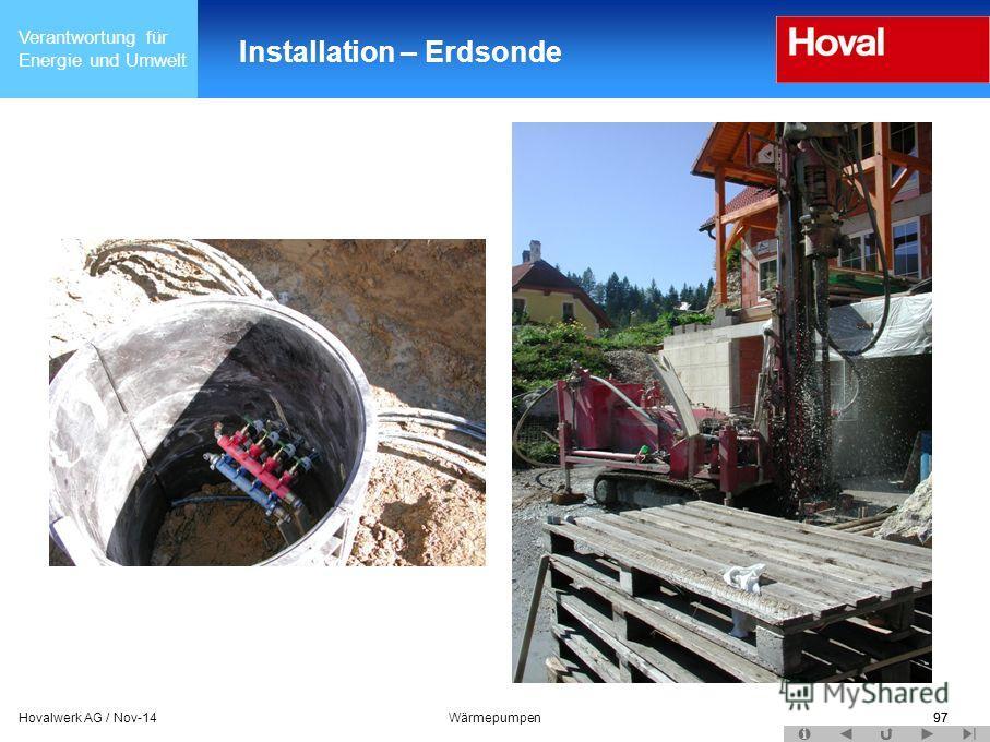 Verantwortung für Energie und Umwelt 97Hovalwerk AG / Nov-14Wärmepumpen97 Installation – Erdsonde