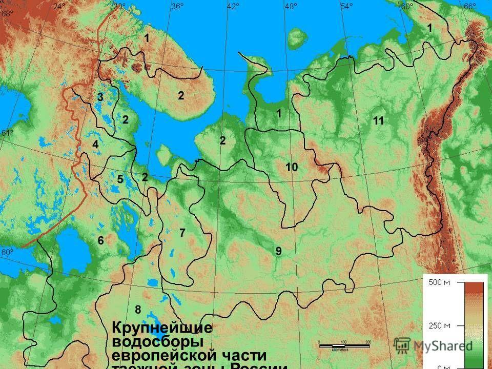 Крупнейшие водосборы европейской части таежной зоны России
