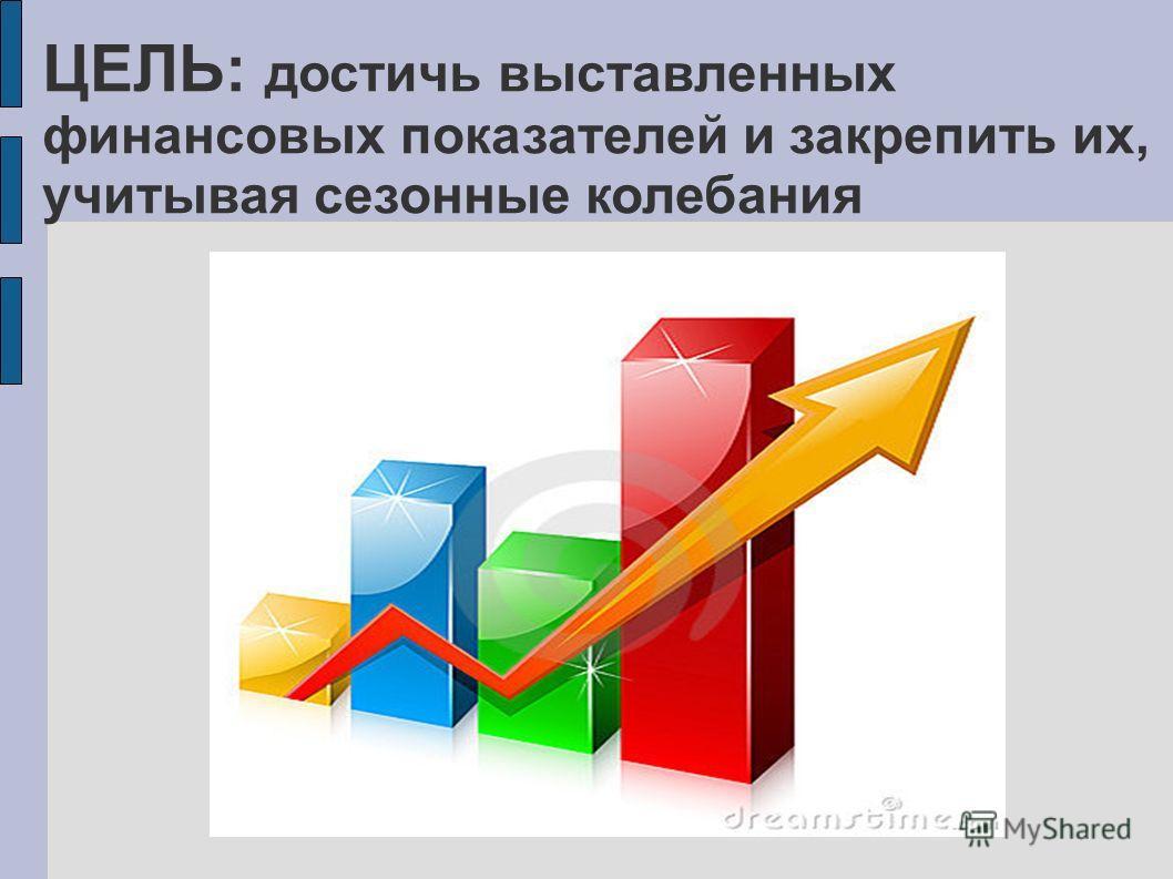 ЦЕЛЬ: достичь выставленных финансовых показателей и закрепить их, учитывая сезонные колебания
