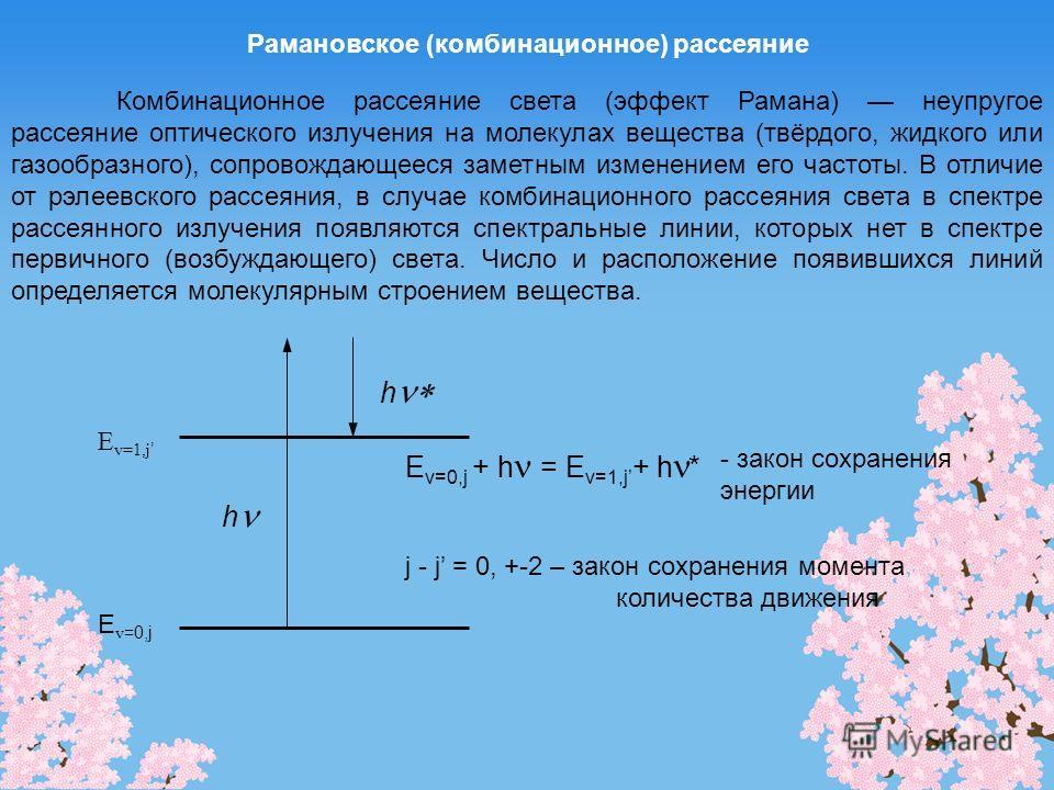 Рамановское (комбинационное) рассеяние Комбинационное рассеяние света (эффект Рамана) неупругое рассеяние оптического излучения на молекулах вещества (твёрдого, жидкого или газообразного), сопровождающееся заметным изменением его частоты. В отличие о