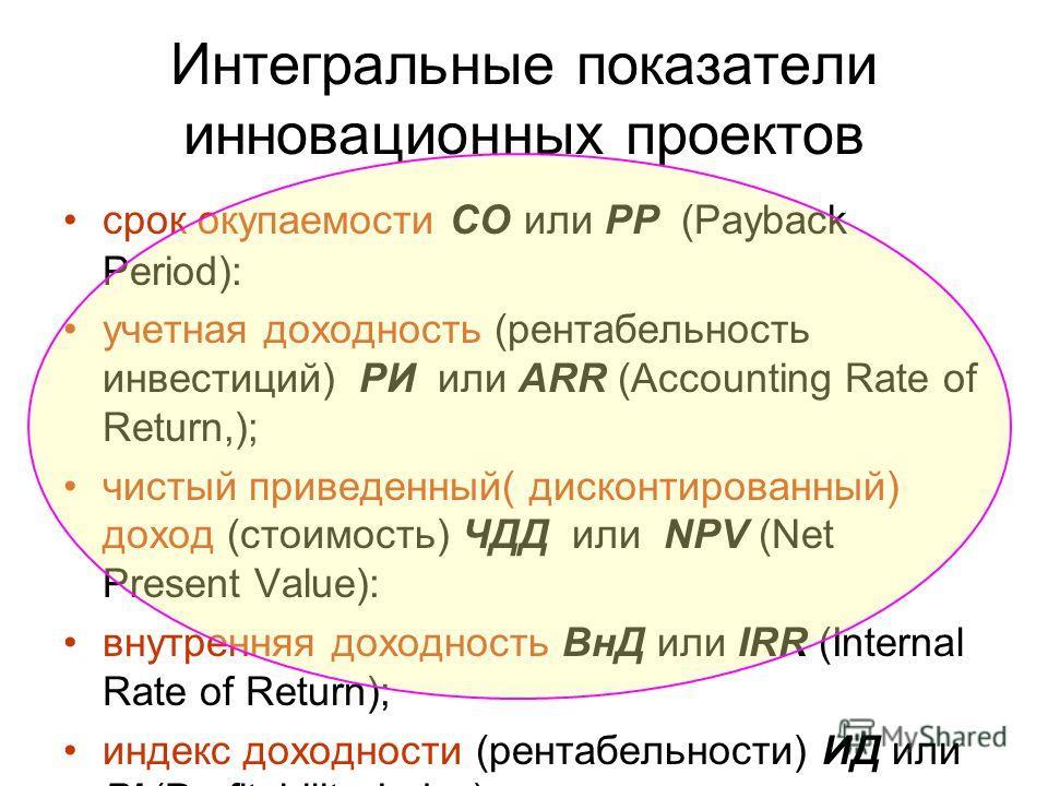 Интегральные показатели инновационных проектов срок окупаемости СО или PP (Payback Period): учетная доходность (рентабельность инвестиций) РИ или ARR (Accounting Rate of Return,); чистый приведенный( дисконтированный) доход (стоимость) ЧДД или NPV (N