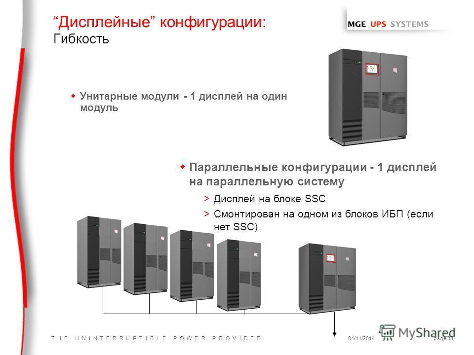 T H E U N I N T E R R U P T I B L E P O W E R P R O V I D E R04/11/2014page 33 Дисплейные конфигурации: Гибкость w Унитарные модули - 1 дисплей на один модуль w Параллельные конфигурации - 1 дисплей на параллельную систему >Дисплей на блоке SSC >Смон