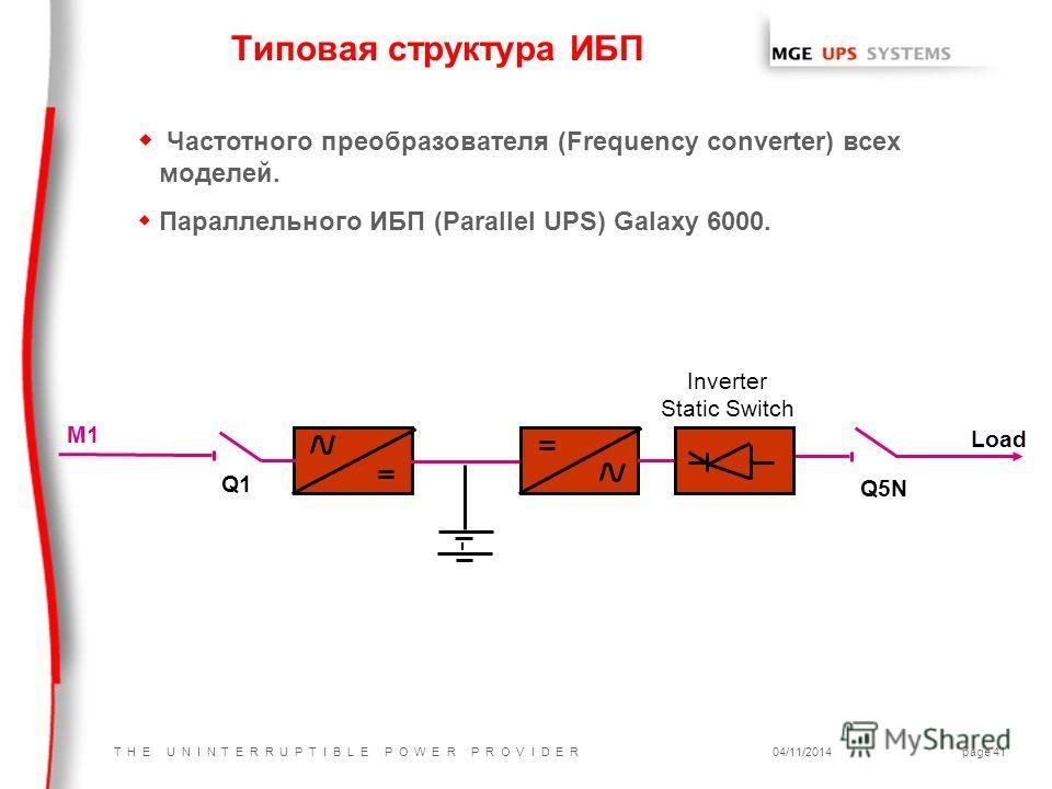 T H E U N I N T E R R U P T I B L E P O W E R P R O V I D E R04/11/2014page 41 Типовая структура ИБП Q1 Q5N K3 M1 Load Inverter Static Switch w Частотного преобразователя (Frequency converter) всех моделей. w Параллельного ИБП (Parallel UPS) Galaxy 6