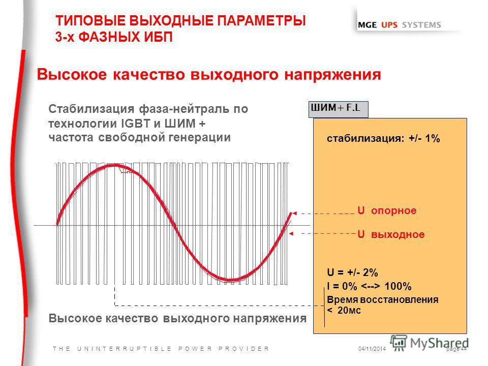 T H E U N I N T E R R U P T I B L E P O W E R P R O V I D E R04/11/2014page 44 Высокое качество выходного напряжения стабилизация: +/- 1% U опорное U выходное U = +/- 2% I = 0% 100% Время восстановления < 20 мс ШИМ+ F.L Стабилизация фаза-нейтраль по