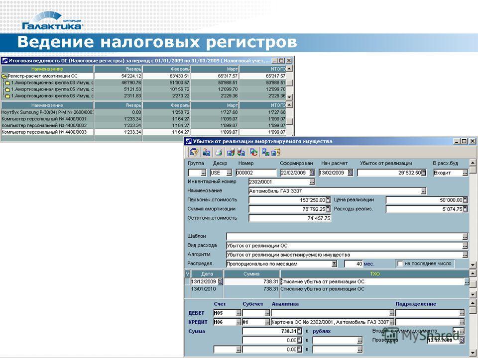 Ведение налоговых регистров