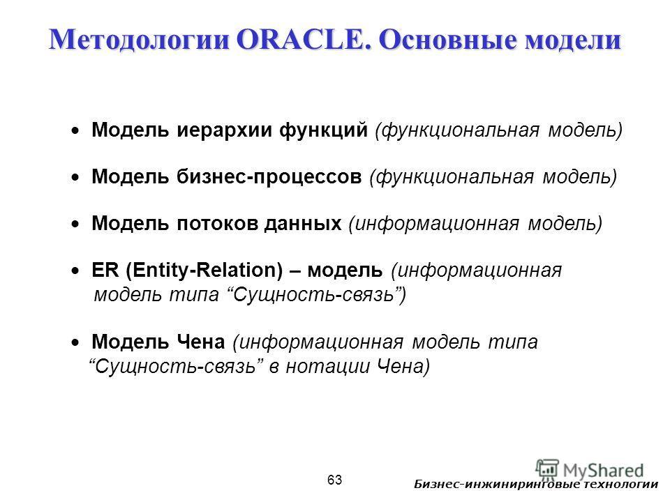 Бизнес-инжиниринговые технологии 63 Модель иерархии функций (функциональная модель) Модель бизнес-процессов (функциональная модель) Модель потоков данных (информационная модель) ER (Entity-Relation) – модель (информационная модель типа Сущность-связь