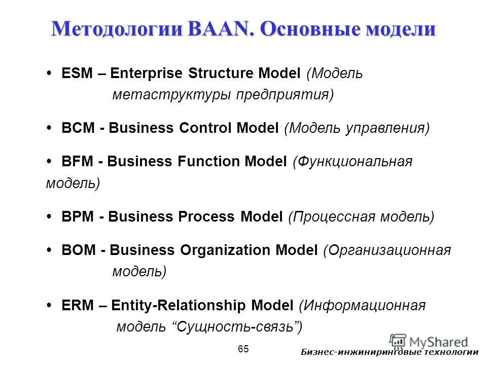 Бизнес-инжиниринговые технологии 65 ESM – Enterprise Structure Model (Модель метаструктуры предприятия) BCM - Business Control Model (Модель управления) BFM - Business Function Model (Функциональная модель) BPM - Business Process Model (Процессная мо