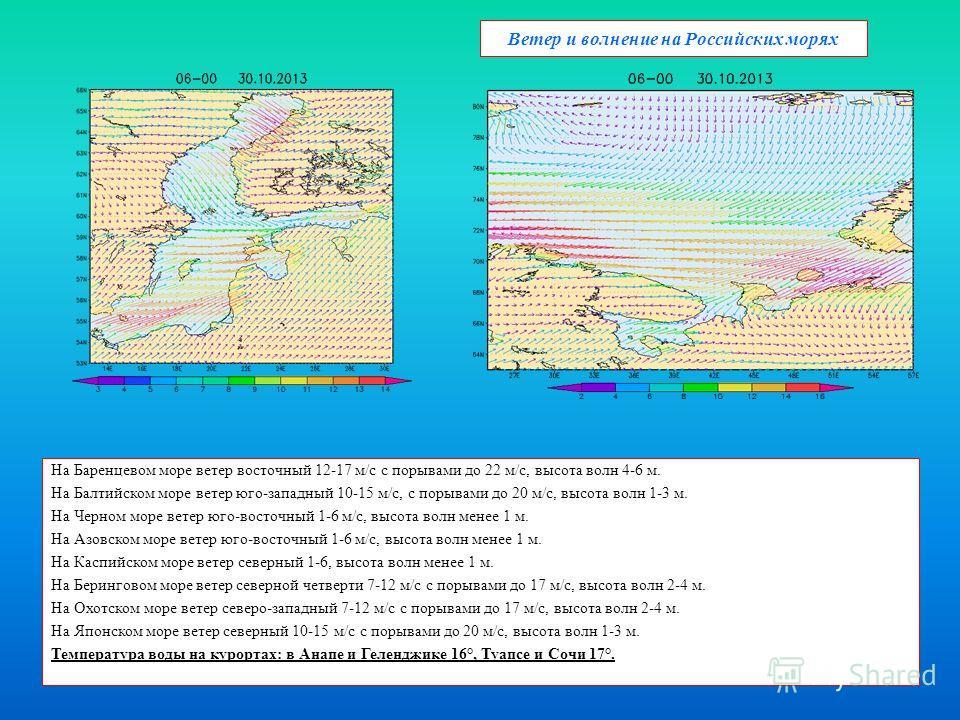 Ветер и волнение на Российских морях На Баренцевом море ветер восточный 12-17 м/с с порывами до 22 м/с, высота волн 4-6 м. На Балтийском море ветер юго-западный 10-15 м/с, с порывами до 20 м/с, высота волн 1-3 м. На Черном море ветер юго-восточный 1-