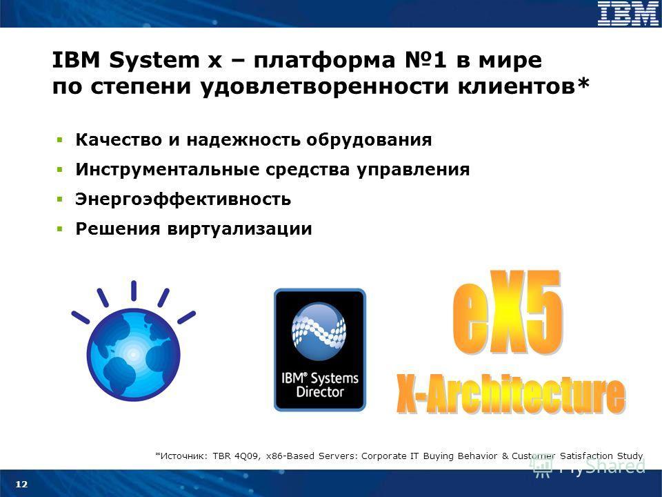 12 IBM System x – платформа 1 в мире по степени удовлетворенности клиентов* Качество и надежность оборудования Инструментальные средства управления Энергоэффективность Решения виртуализации *Источник: TBR 4Q09, x86-Based Servers: Corporate IT Buying