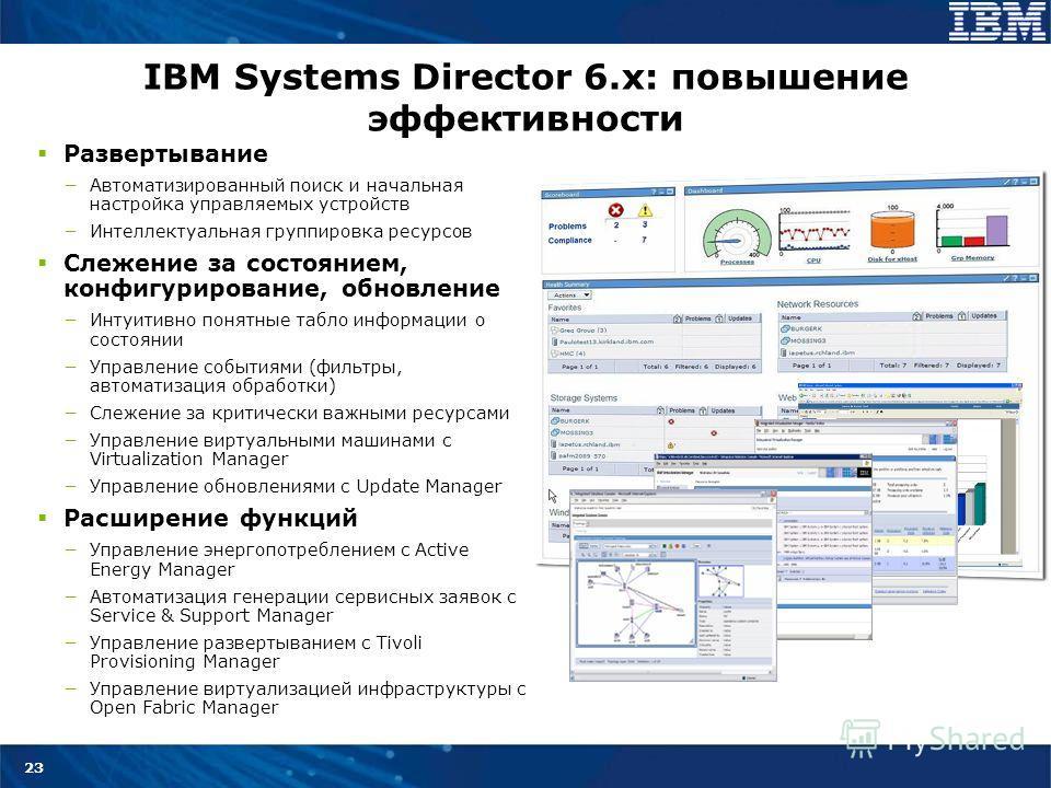 23 IBM Systems Director 6.x: повышение эффективности Развертывание Автоматизированный поиск и начальная настройка управляемых устройств Интеллектуальная группировка ресурсов Слежение за состоянием, конфигурирование, обновление Интуитивно понятные таб