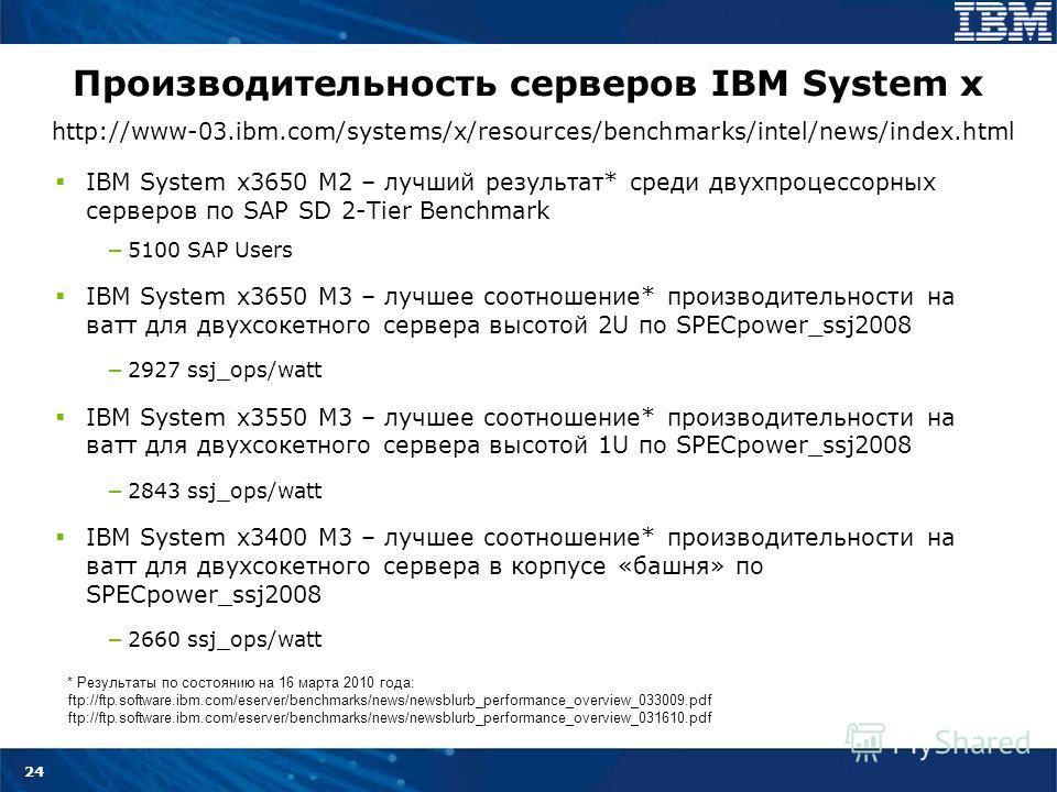 24 Производительность серверов IBM System x IBM System x3650 M2 – лучший результат* среди двухпроцессорных серверов по SAP SD 2-Tier Benchmark 5100 SAP Users IBM System x3650 M3 – лучшее соотношение* производительности на ватт для двухсокетного серве