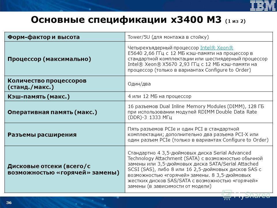 36 Основные спецификации x3400 M3 (1 из 2) Форм-фактор и высота Tower/5U (для монтажа в стойку) Процессор (максимально) Четырехъядерный процессор Intel® Xeon® E5640 2,66 ГГц с 12 МБ кэш-памяти на процессор в стандартной комплектации или шестиядерный