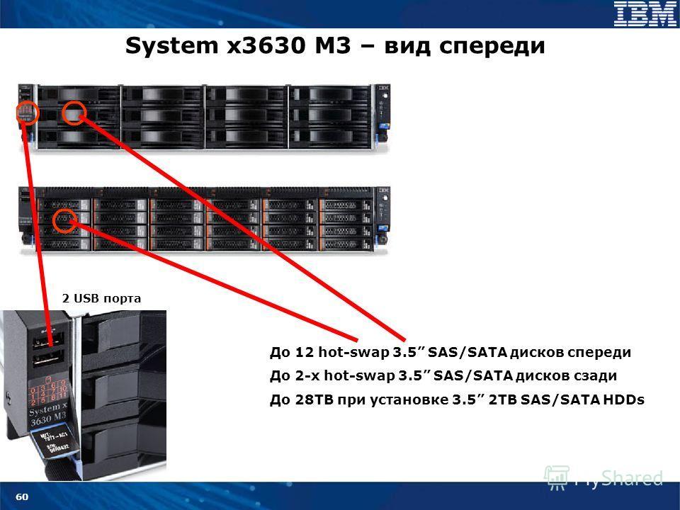 60 System x3630 M3 – вид спереди До 12 hot-swap 3.5 SAS/SATA дисков спереди До 2-x hot-swap 3.5 SAS/SATA дисков сзади До 28TB при установке 3.5 2TB SAS/SATA HDDs 2 USB порта