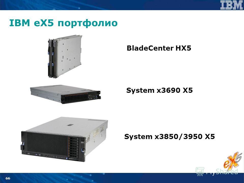 66 System x3690 X5 BladeCenter HX5 System x3850/3950 X5 IBM eX5 портфолио