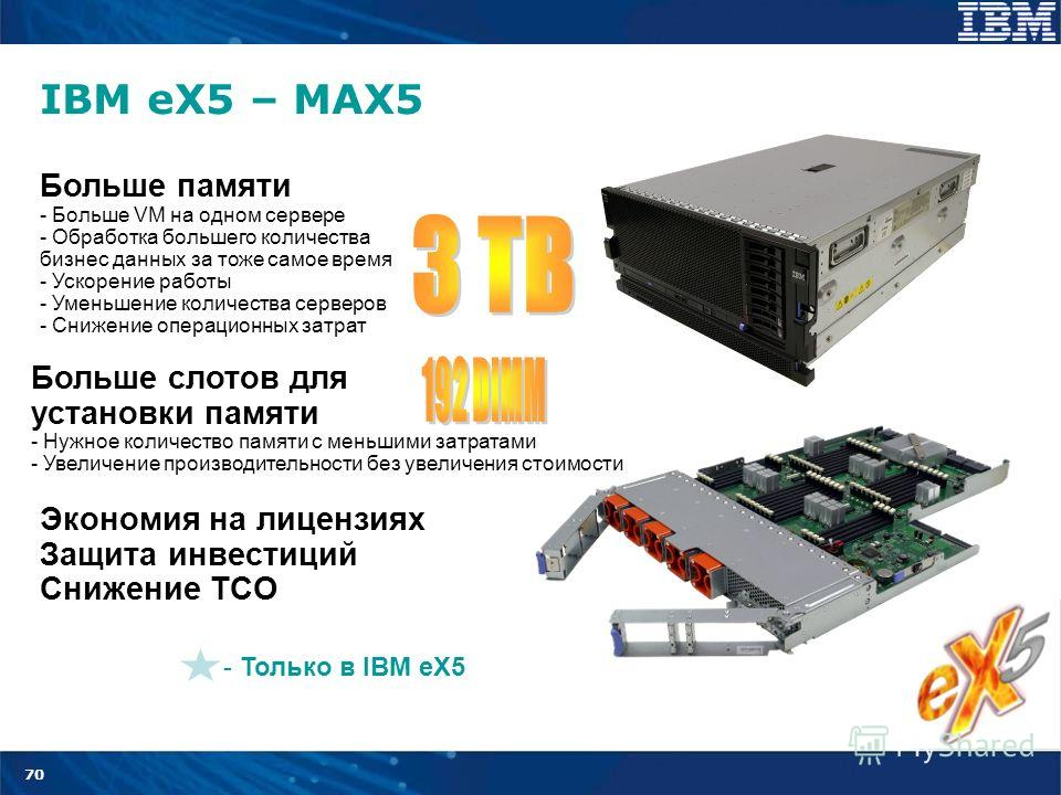 70 IBM eX5 – MAX5 - Только в IBM eX5 Больше памяти - Больше VM на одном сервере - Обработка большего количества бизнес данных за тоже самое время - Ускорение работы - Уменьшение количества серверов - Снижение операционных затрат Больше слотов для уст