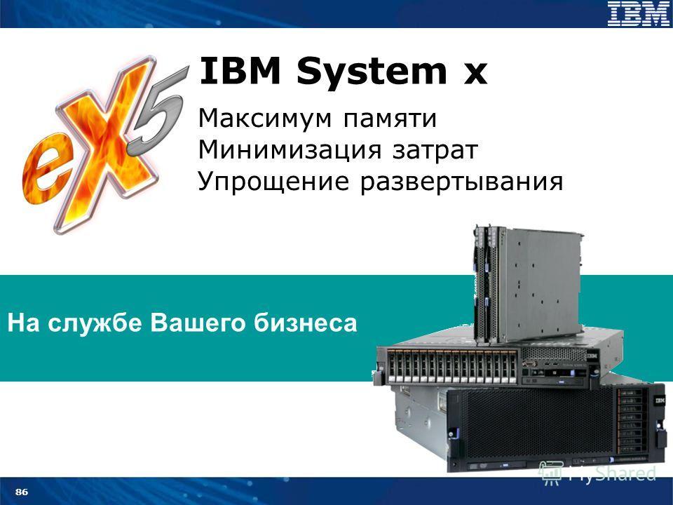 86 Максимум памяти Минимизация затрат Упрощение развертывания На службе Вашего бизнеса IBM System x