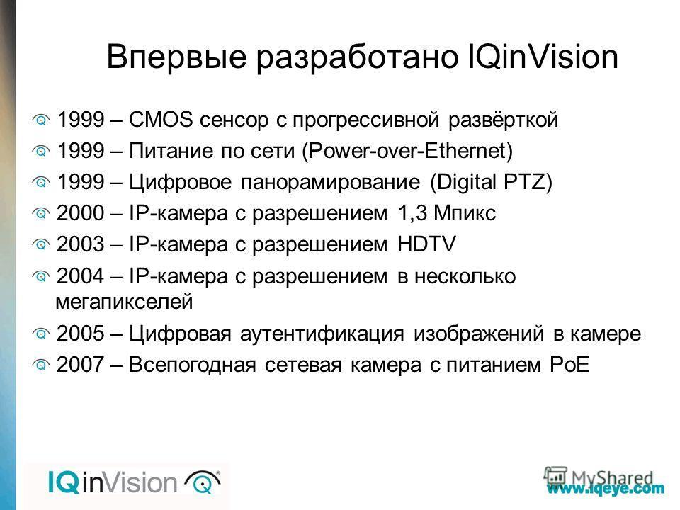 Впервые разработано IQinVision 1999 – CMOS сенсор с прогрессивной развёрткой 1999 – Питание по сети (Power-over-Ethernet) 1999 – Цифровое панорамирование (Digital PTZ) 2000 – IP-камера с разрешением 1,3 Мпикс 2003 – IP-камера с разрешением HDTV 2004