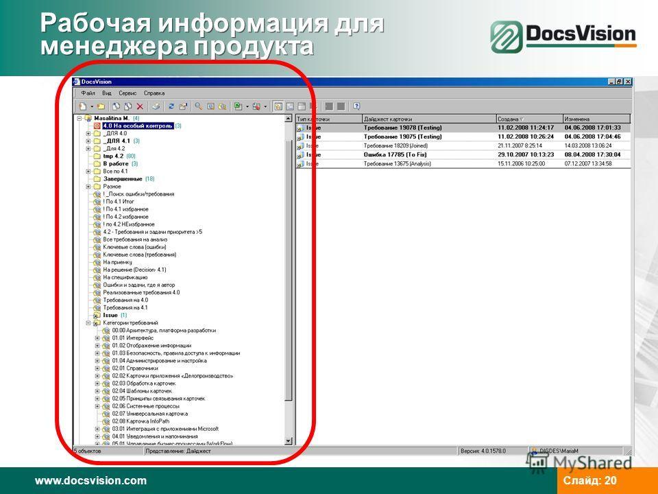 www.docsvision.com Слайд: 20 Рабочая информация для менеджера продукта