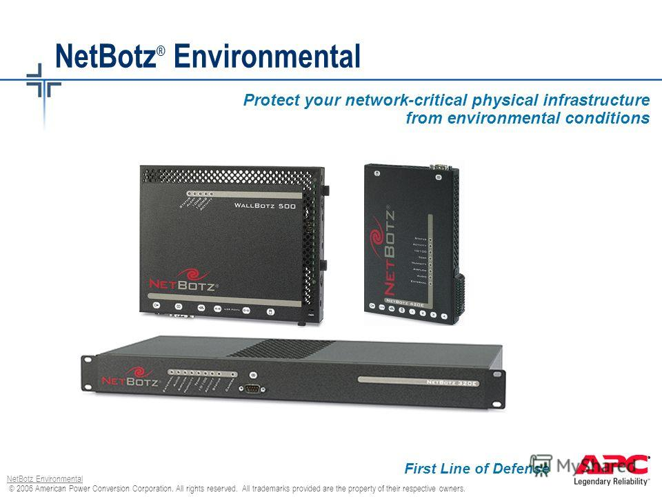 © 2006 American Power Conversion Corporation. All rights reserved. All trademarks provided are the property of their respective owners. NetBotz Environmental NetBotz ® Environmental Protect your network-critical physical infrastructure from environme