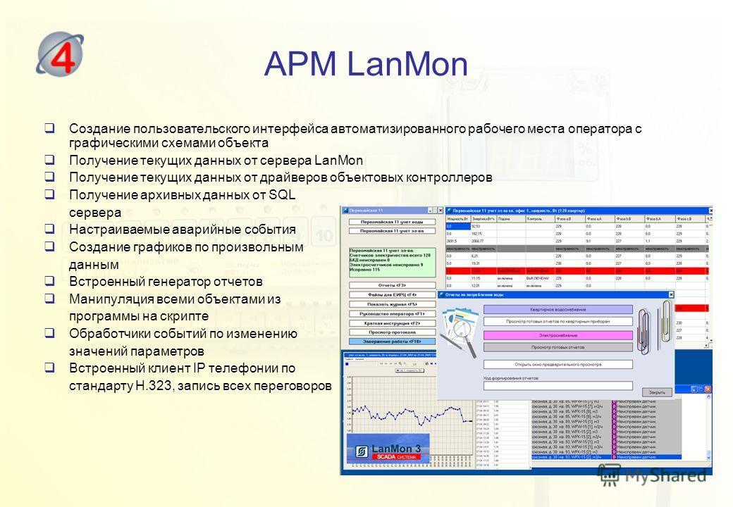 АРМ LanMon Создание пользовательского интерфейса автоматизированного рабочего места оператора с графическими схемами объекта Получение текущих данных от сервера LanMon Получение текущих данных от драйверов объектовых контроллеров Получение архивных д