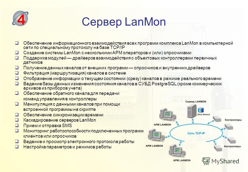 Сервер LanMon Обеспечение информационного взаимодействия всех программ комплекса LanMon в компьютерной сети по специальному протоколу на базе TCP/IP Создание системы LanMon с несколькими АРМ операторов и (или) опросчиками Поддержка модулей драйверов