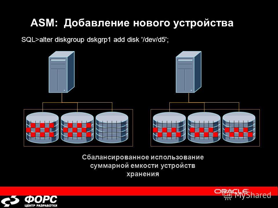 Сбалансированное использование суммарной емкости устройств хранения ASM: Добавление нового устройства SQL>alter diskgroup dskgrp1 add disk '/dev/d5';