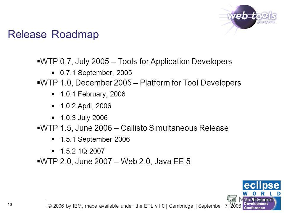 © 2006 by IBM; made available under the EPL v1.0 | Cambridge | September 7, 2006 10 Release Roadmap WTP 0.7, July 2005 – Tools for Application Developers 0.7.1 September, 2005 WTP 1.0, December 2005 – Platform for Tool Developers 1.0.1 February, 2006