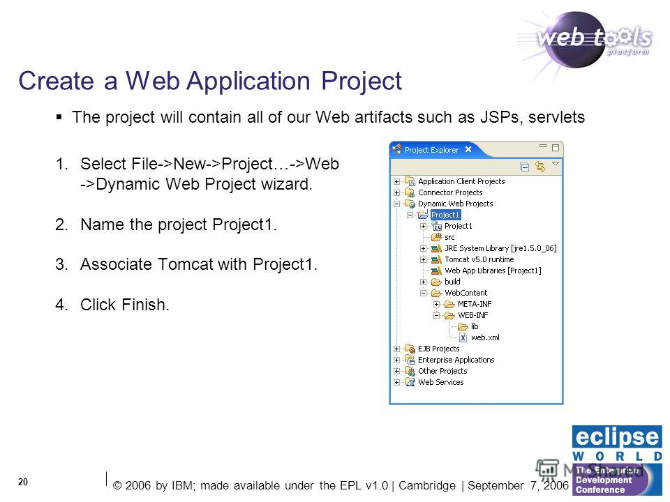 © 2006 by IBM; made available under the EPL v1.0 | Cambridge | September 7, 2006 20 Create a Web Application Project 1. Select File->New->Project…->Web ->Dynamic Web Project wizard. 2. Name the project Project1. 3. Associate Tomcat with Project1. 4.