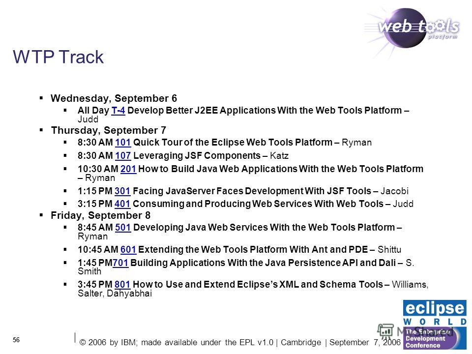 © 2006 by IBM; made available under the EPL v1.0 | Cambridge | September 7, 2006 56 WTP Track Wednesday, September 6 All Day T-4 Develop Better J2EE Applications With the Web Tools Platform – JuddT-4 Thursday, September 7 8:30 AM 101 Quick Tour of th