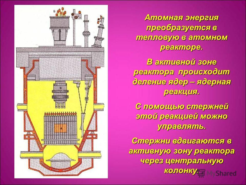 Атомная энергия преобразуется в тепловую в атомном реакторе. В активной зоне реактора происходит деление ядер – ядерная реакция. С помощью стержней этой реакцией можно управлять. Стержни вдвигаются в активную зону реактора через центральную колонку.