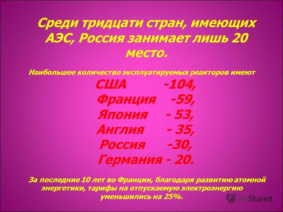 Среди тридцати стран, имеющих АЭС, Россия занимает лишь 20 место. Наибольшее количество эксплуатируемых реакторов имеют США -104, Франция -59, Япония - 53, Англия - 35, Россия -30, Германия - 20. За последние 10 лет во Франции, благодаря развитию ато