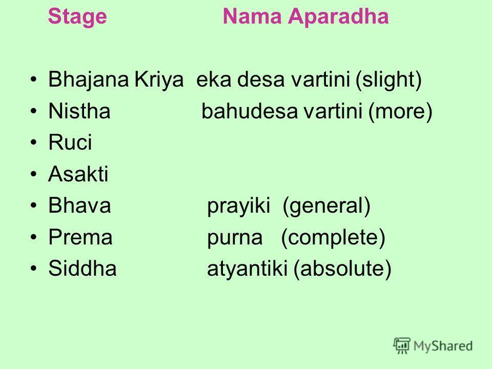 Stage Nama Aparadha Bhajana Kriya eka desa vartini (slight) Nistha bahudesa vartini (more) Ruci Asakti Bhava prayiki (general) Prema purna (complete) Siddha atyantiki (absolute)