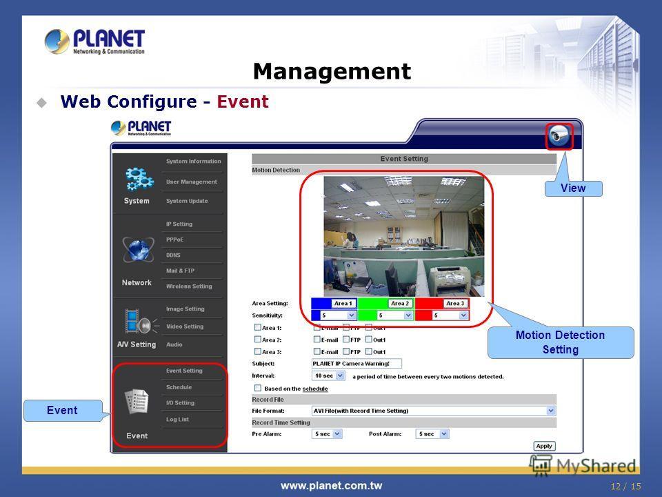 12 / 15 Management Web Configure - Event Event Motion Detection Setting View