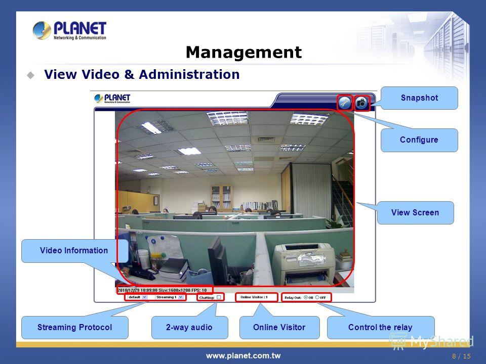 8 / 15 Management View Video & Administration Video Information Streaming Protocol 2-way audio Online Visitor Control the relay Snapshot Configure View Screen