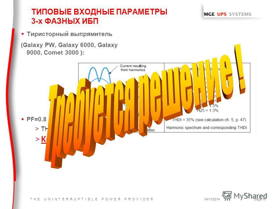 T H E U N I N T E R R U P T I B L E P O W E R P R O V I D E R04/11/2014page 16 ТИПОВЫЕ ВХОДНЫЕ ПАРАМЕТРЫ 3-х ФАЗНЫХ ИБП w Тиристорный выпрямитель (Galaxy PW, Galaxy 6000, Galaxy 9000, Comet 3000 ): wPF=0.8 >THDI=33% >Кd=2.5