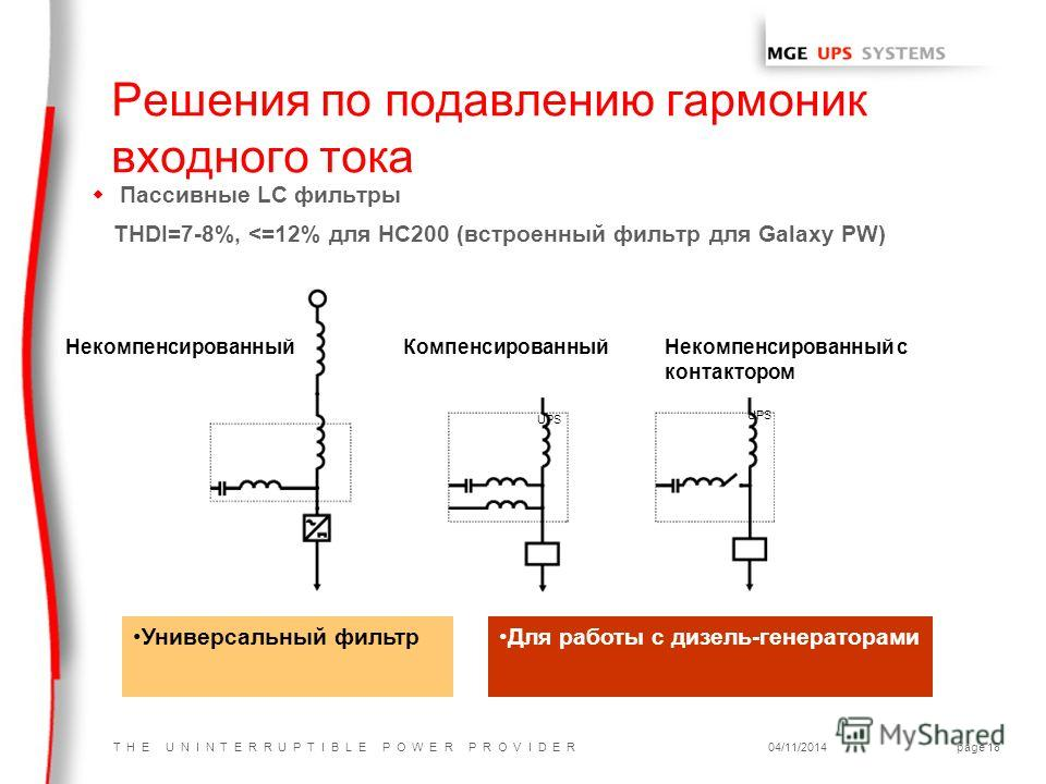 T H E U N I N T E R R U P T I B L E P O W E R P R O V I D E R04/11/2014page 18 w Пассивные LC фильтры THDI=7-8%,