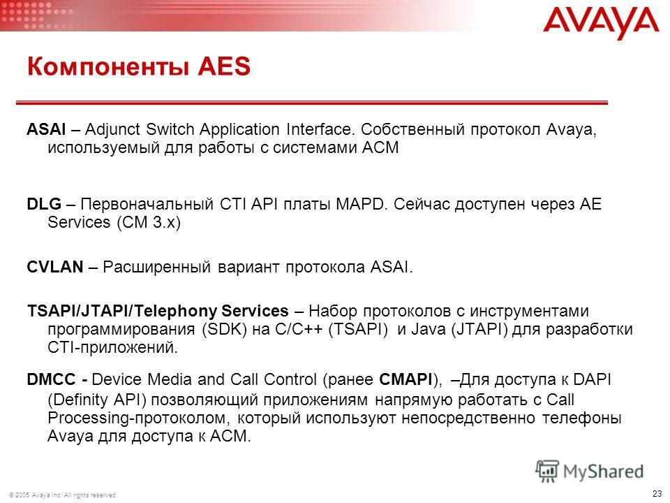 23 © 2005 Avaya Inc. All rights reserved. Компоненты AES ASAI – Adjunct Switch Application Interface. Собственный протокол Avaya, используемый для работы с системами ACM DLG – Первоначальный CTI API платы MAPD. Сейчас доступен через AE Services (CM 3