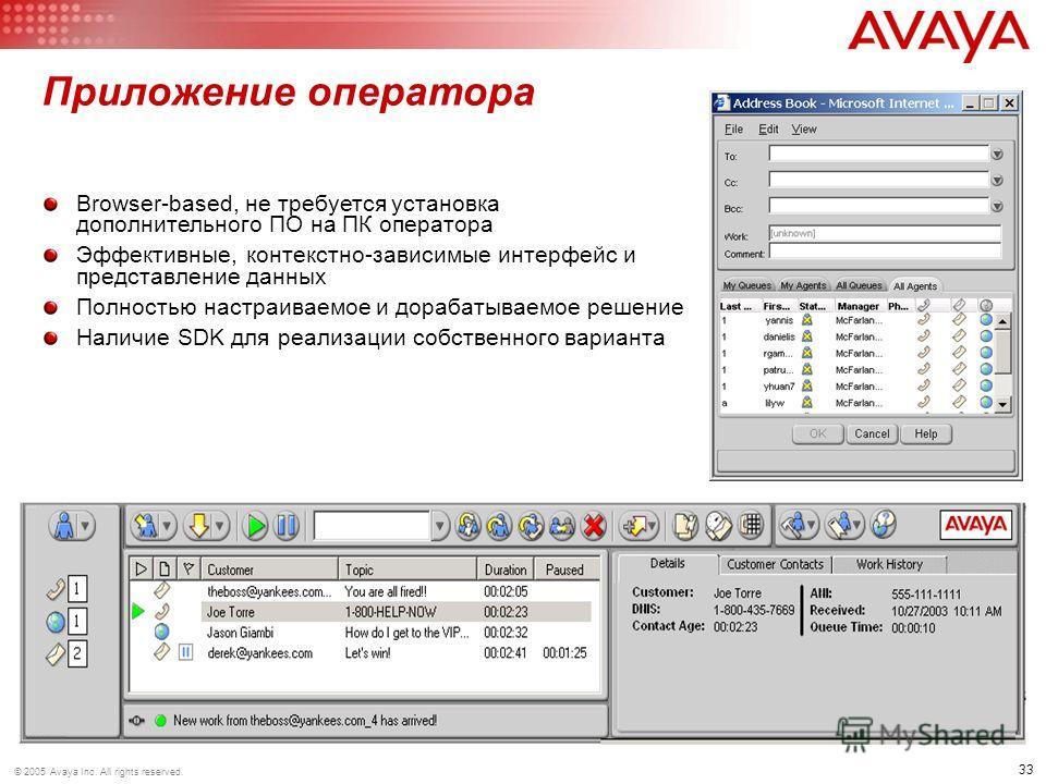 33 © 2005 Avaya Inc. All rights reserved. Приложение оператора Browser-based, не требуется установка дополнительного ПО на ПК оператора Эффективные, контекстно-зависимые интерфейс и представление данных Полностью настраиваемое и дорабатываемое решени