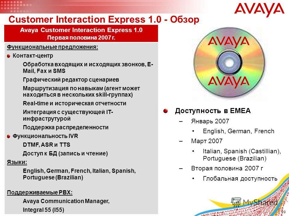 39 © 2005 Avaya Inc. All rights reserved. Customer Interaction Express 1.0 - Обзор Avaya Customer Interaction Express 1.0 Первая половина 2007 г. Функциональные предложения: Контакт-центр Обработка входящих и исходящих звонков, E- Mail, Fax и SMS Гра
