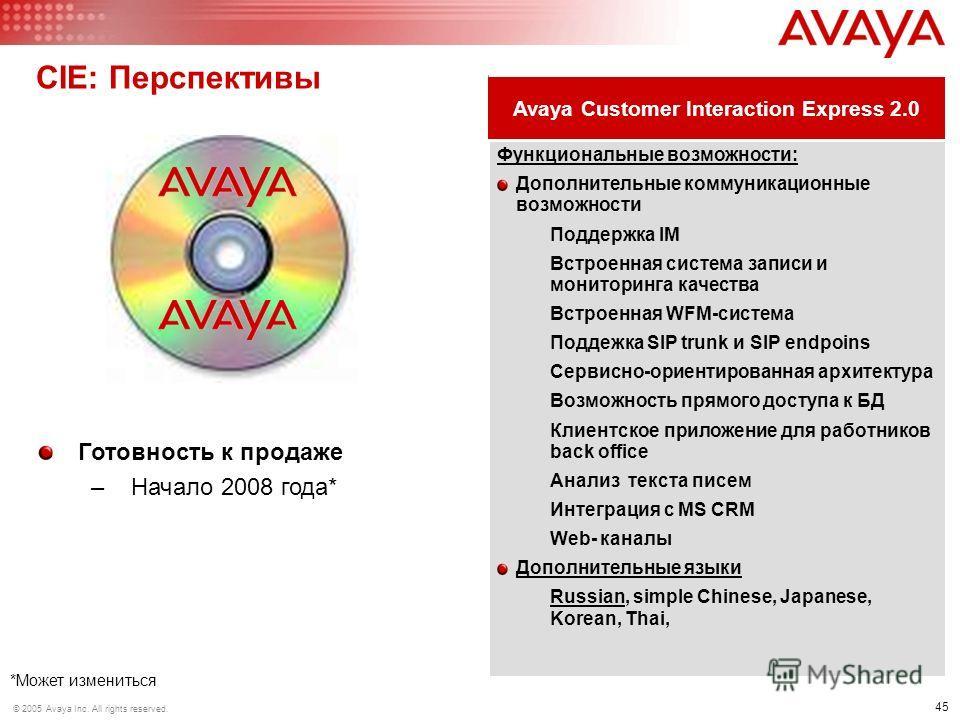 45 © 2005 Avaya Inc. All rights reserved. CIE: Перспективы Функциональные возможности: Дополнительные коммуникационные возможности Поддержка IM Встроенная система записи и мониторинга качества Встроенная WFM-система Поддежка SIP trunk и SIP endpoins