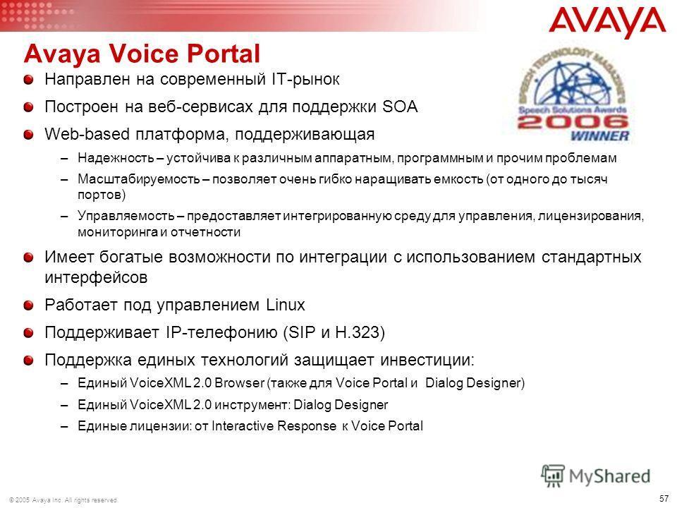 57 © 2005 Avaya Inc. All rights reserved. Avaya Voice Portal Направлен на современный IT-рынок Построен на веб-сервисах для поддержки SOA Web-based платформа, поддерживающая –Надежность – устойчива к различным аппаратным, программным и прочим проблем