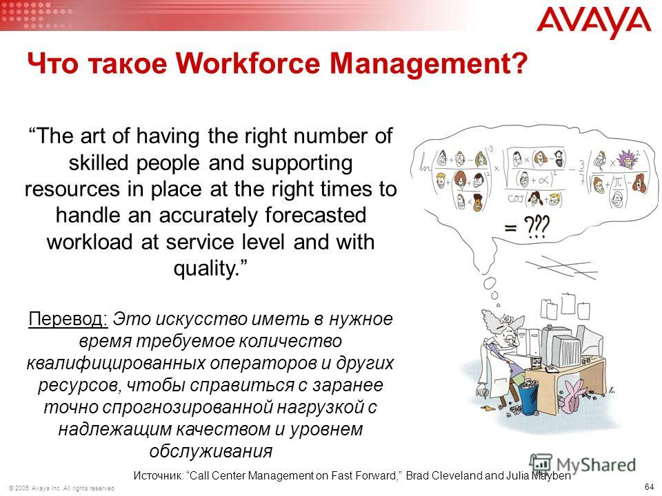 64 © 2005 Avaya Inc. All rights reserved. Что такое Workforce Management? Источник: Call Center Management on Fast Forward, Brad Cleveland and Julia Mayben The art of having the right number of skilled people and supporting resources in place at the
