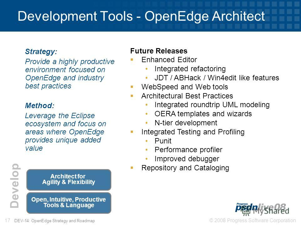 © 2008 Progress Software Corporation17 DEV-14: OpenEdge Strategy and Roadmap Development Tools - OpenEdge Architect Strategy: Provide a highly productive environment focused on OpenEdge and industry best practices Method: Leverage the Eclipse ecosyst