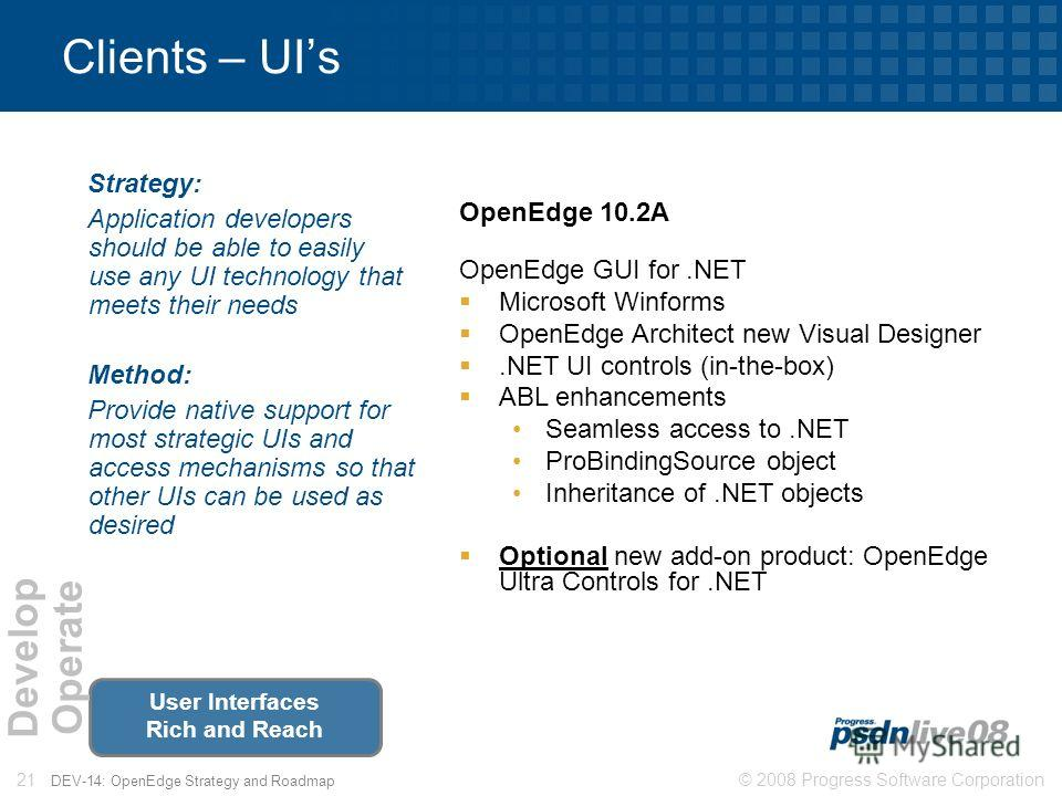 © 2008 Progress Software Corporation21 DEV-14: OpenEdge Strategy and Roadmap Clients – UIs Strategy: Application developers should be able to easily use any UI technology that meets their needs Method: Provide native support for most strategic UIs an
