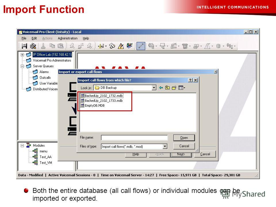 Import Function Both the entire database (all call flows) or individual modules can be imported or exported.