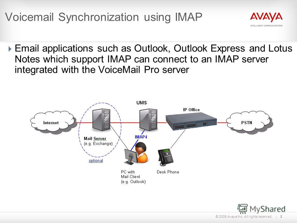 © 2009 Avaya Inc. All rights reserved.2 Voicemail Synchronization using IMAP Email applications such as Outlook, Outlook Express and Lotus Notes which support IMAP can connect to an IMAP server integrated with the VoiceMail Pro server