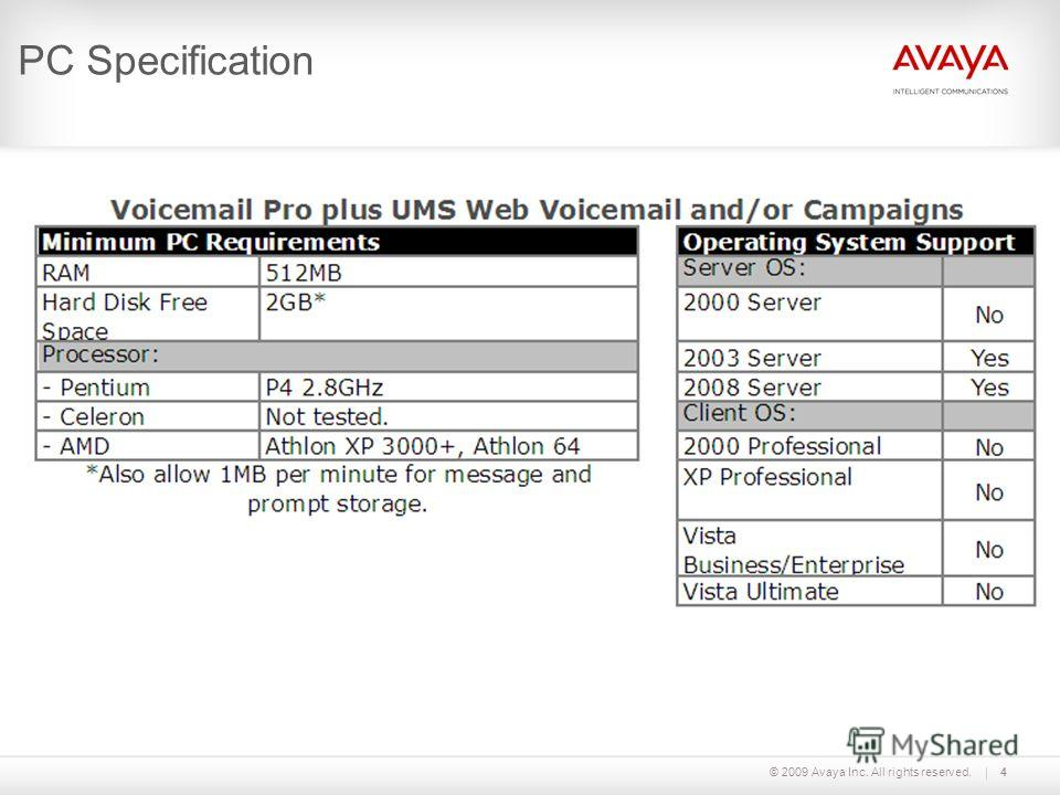 © 2009 Avaya Inc. All rights reserved.4 PC Specification