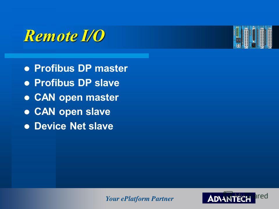 Remote I/O Profibus DP master Profibus DP slave CAN open master CAN open slave Device Net slave