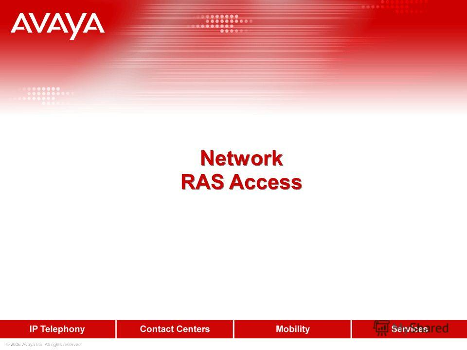 © 2006 Avaya Inc. All rights reserved. Network RAS Access Network RAS Access